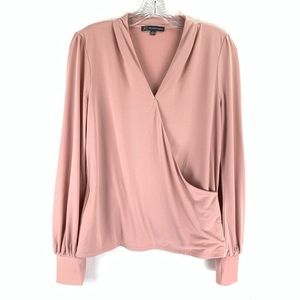 Adrianna Papell Faux Wrap Pink Stretchy Blouse